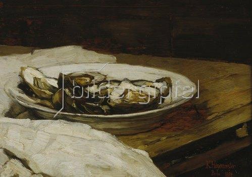 Karl Hagemeister: Teller mit Austern. 1884.