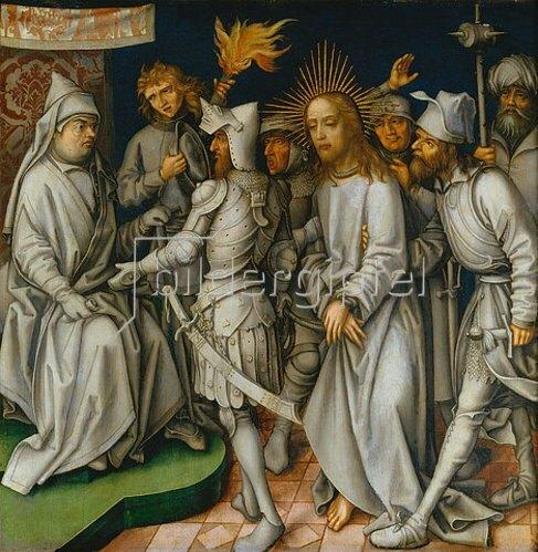 Hans Holbein d.Ä.: Sogenannte Graue Passion: Christus vor Kaiphas. Um 1495.