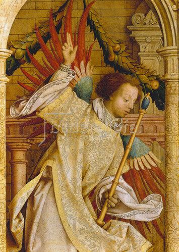 Hans Holbein d.Ä.: Verkündigungsengel. Detail von der Flügelaußenseite des Sebastians-Altars.