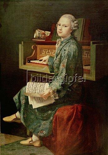 Französisch um 1700: Bildnis eines Jungen am Klavier, vielleicht Wolfgang Amadeus Mozart