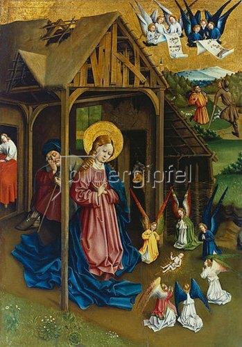 Jan Koerbecke: Maria und Engel, das Christkind anbetend 1457. Tafel vom Marienfelder Altar.