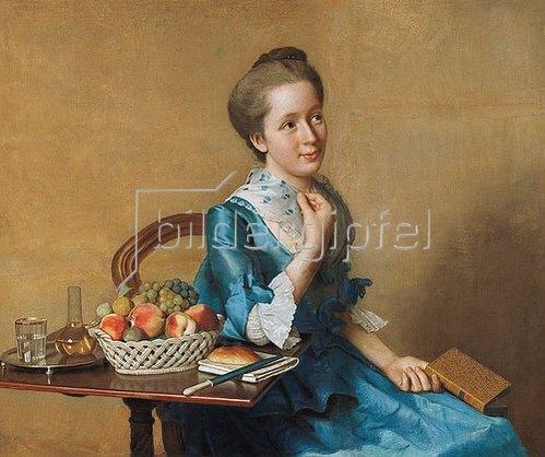 Jean Etienne Liotard: Dame mit Früchtestilleben.
