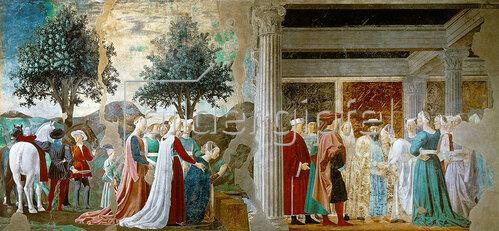 Piero della Francesca: Die König in Saba bei König Salomon. Episoden aus dem Zyklus vom Heiligen Kreuz.