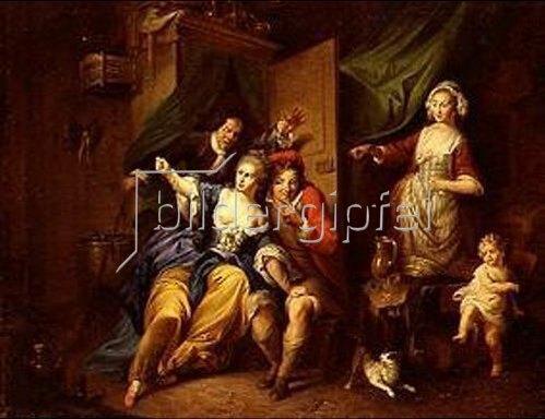 Christian von Mannlich: Überraschungsszene aus der Oper Blaise le Savetier. 1763.