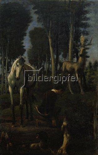 Hans von Marées: Der hl. Hubertus. Mitteltafel des Triptychons Die drei Reiter. 1885/87.