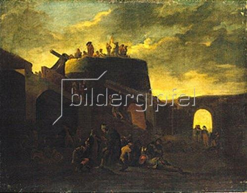 Pieter van Laer: Vor einer italienischen Stadt.
