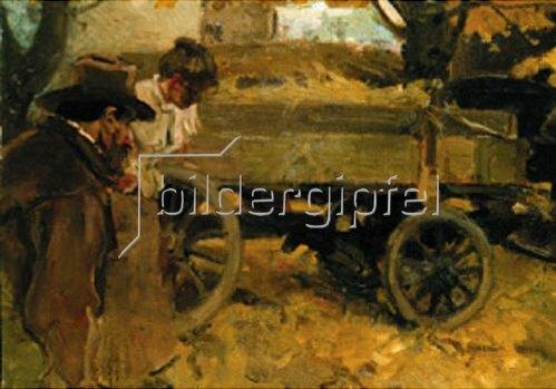 Arthur Langhammer: Mann und Mädchen bei einem Wagen. Um1900