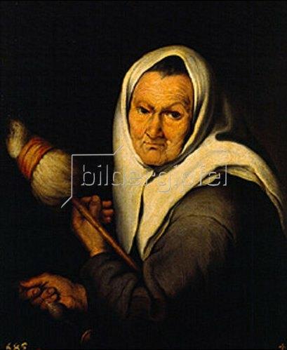 Bartolomé Estéban Murillo: Spinnende alte Frau. Um 1642.