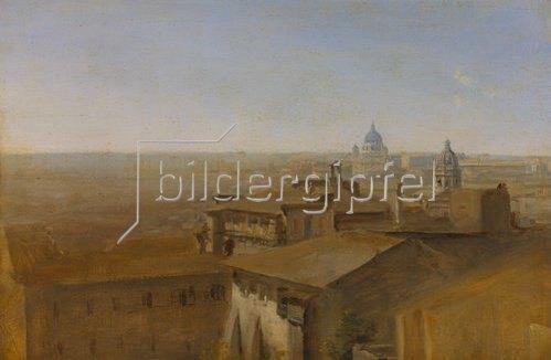 Johann Georg von Dillis: Blick auf St.Peter in Rom von der Villa Malta aus. 1818