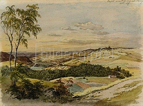 Lorenzo Quaglio d.J.: Aussicht vom Stuffenberg nach Kissingen. 1856.