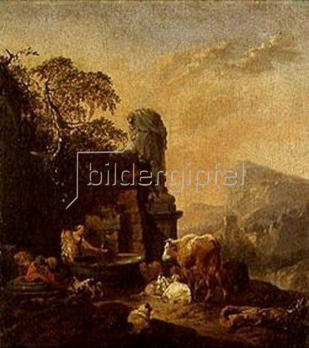 Johann Heinrich Roos: Hirtenfamilie und Herde am Brunnen.
