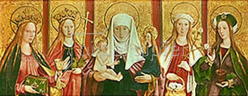 Bartholomeus Zeitblom: Die hl.Anna Selbdritt mit den hll. Barbara,Margarethe,Dorothea u.Magdalena.