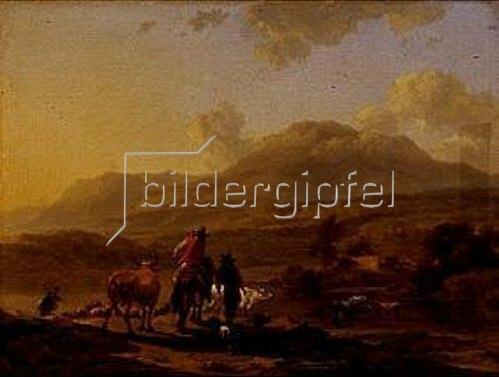 Nicolaes Berchem: Italienische Landschaft im Abendlicht