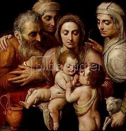 Frans Floris de Vriendt: Die hl.Familie mit Anna, Elisabeth und Johannes.