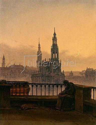 Carl Gustav Carus: Blick auf Dresden mit Mondsichel.