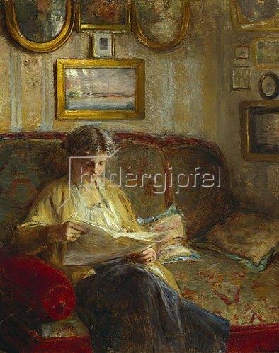 Bertha Wegmann: Lesende Frau auf einem Sofa.