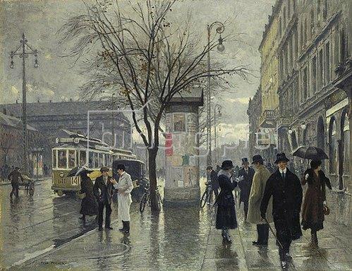 Paul Fischer: Die Vesterbrogade in Kopenhagen an einem Regentag.