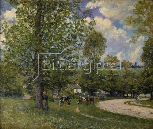 Alfred Sisley: Weideplatz mit Rindern bei Louveciennes. 1874