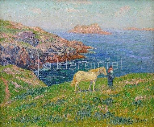 Henri Moret: Bäuerin mit Pferd an der Küste von Ouessant. 1895.