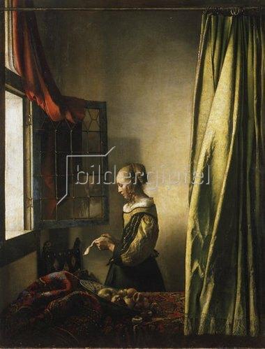 Jan Vermeer van Delft: Briefleserin am offenen Fenster. Um 1658