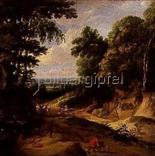 Jacques d` Arthois: Landschaft mit hohen Bäumen (Der Waldweg).
