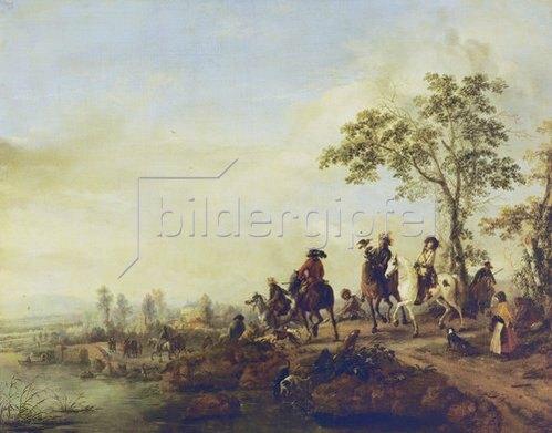 Philips Wouwerman: Die Heimkehr von der Falkenjagd. Um 1658-60