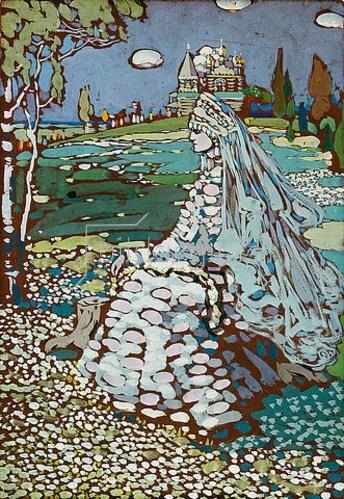 Wassily Kandinsky: Russische Schöne in Landschaft. Um 1904.