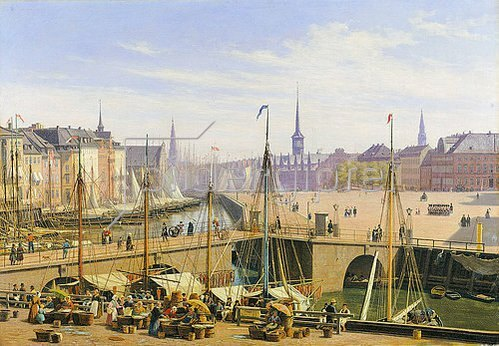 Martinus Roerbye: Blick vom Gammel Strand zur Börse von Kopenhagen. 1845