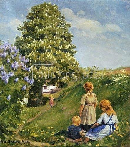 Hans Andersen Brendekilde: Spielende Kinder in Frühlingslandschaft.