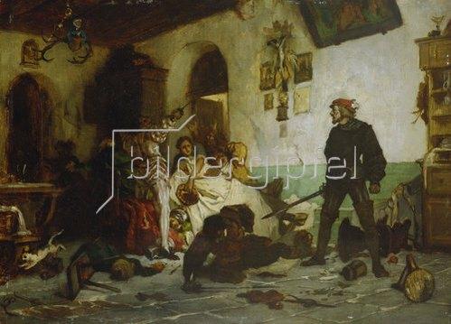 Wilhelm von Lindenschmidt d.J.: Ulrich von Hutten im Kampf mit französischen Edelleuten. Um 1869.
