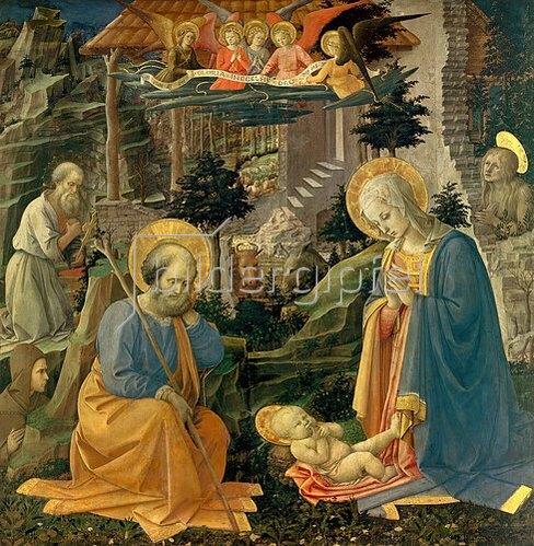 Fra Filippo Lippi: Die Anbetung des Kindes mit den hll. Joseph, Hieronymus, Magdalena und Hilarion. Um 1455