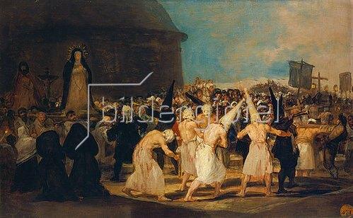 Francisco José de Goya: Flagellantenprozession. Um 1812-1819.