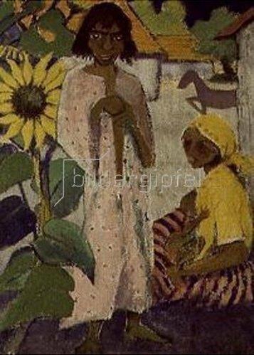 Otto Mueller: Zigeuner mit Sonnenblume. 1927.