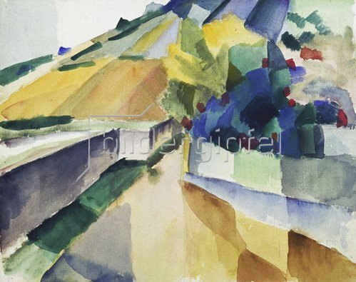 August Macke: Weinberge am Murtensee. 1914