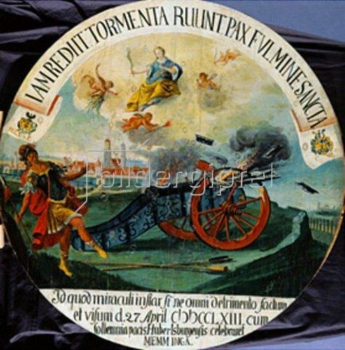 Anonym: Schützenscheibe mit einer Kanonen- Explosion am 27.4.1763