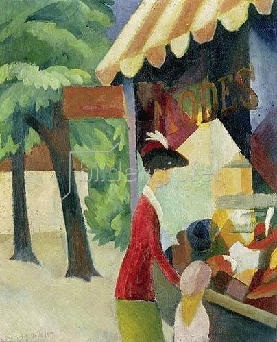 August Macke: Vor dem Hutladen (Frau mit roter Jacke und Kind). 1913.