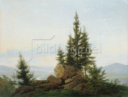 Caspar David Friedrich: Blick in das Tal der Elbe. 1807.