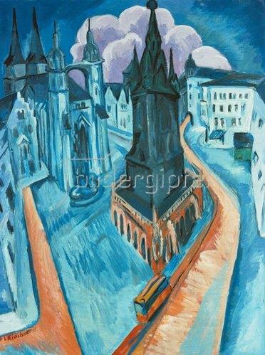 Ernst Ludwig Kirchner: Der rote Turm in Halle. 1915