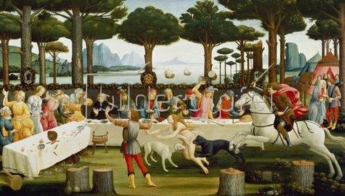Sandro Botticelli: Die Geschichte des Ritters Nastagio degli Onesti. Dritte Episode.
