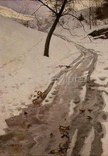 Alexander Koester: Winterlicher Weg bei Klausen/Südtirol.