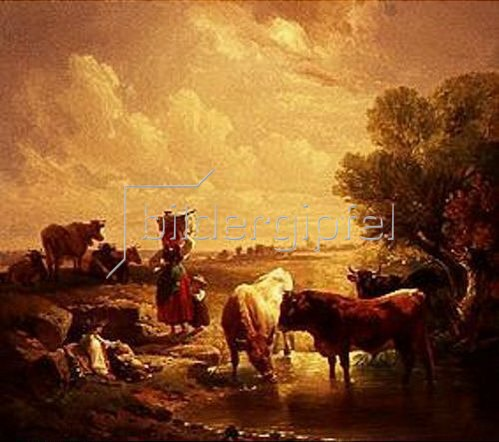 Johann Friedrich Voltz: Hirtenfamilie mit Kühen an der Tränke.