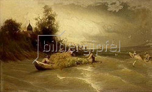 Carl Raupp: Stürmische Heimfahrt von der Fraueninsel im Chiemsee. 1870(?).