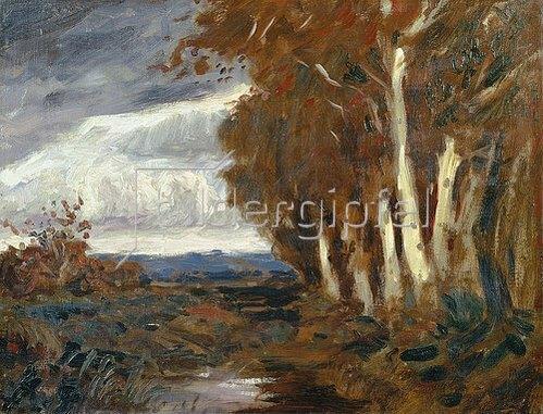 Hans am Ende: Herbst im Moor. Um 1900.