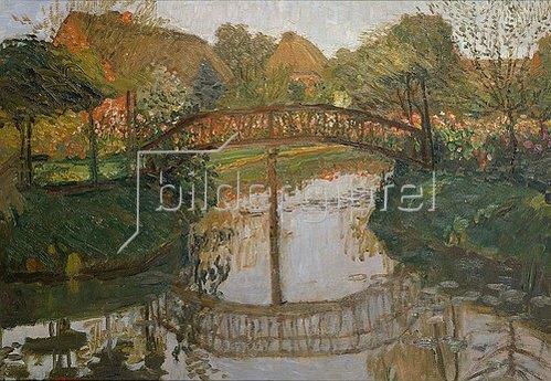 Otto Modersohn: Bauerngarten mit Brücke. Um 1908