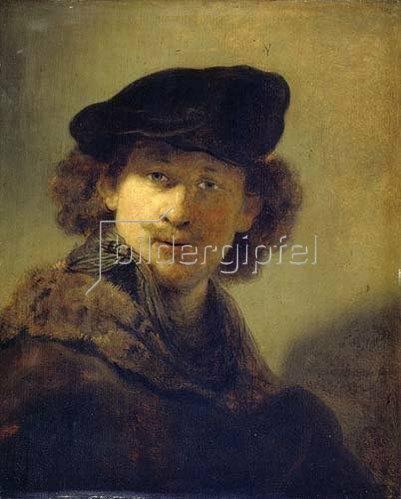 Rembrandt van Rijn: Selbstbildnis mit Samtbarett und einem Mantel mit Pelzkragen. 1634.