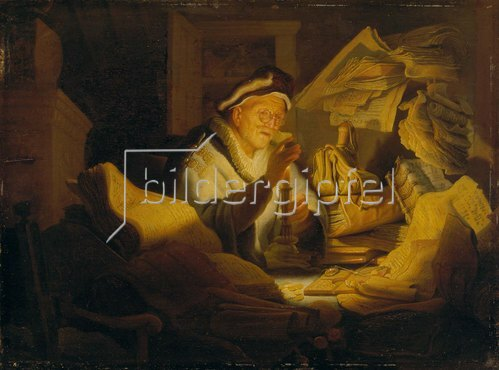 Rembrandt van Rijn: Das Gleichnis vom Reichen (Der Geldwechsler). 1627.