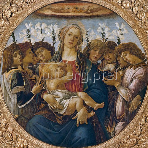 Sandro Botticelli: Maria mit dem Kind und singenden Engeln. Um 1477