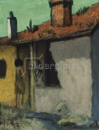 Otto Mueller: Zigeunerhütte mit Ziege. Um 1925.