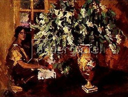 Alexejew. Konstantin Korovin: Krug mit Zweigen der Vogelkirsche. 1900.