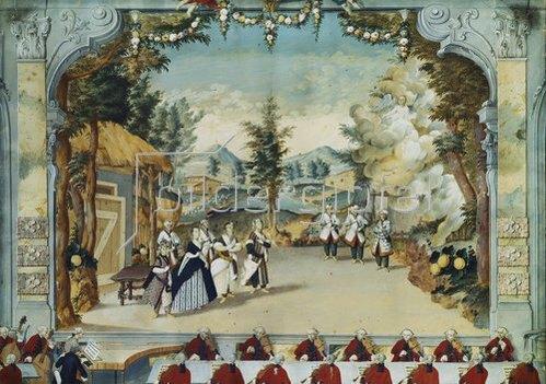 Anonym: Opernaufführung im Schloßtheater Esterháza mit Joseph Haydn am Klavier.